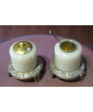 Chinese Silver Export Jade Salt and Pepper set