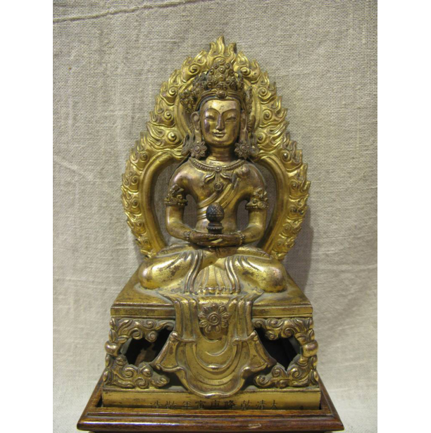 A Tibetan Gilt Bronze figure of Amitayus