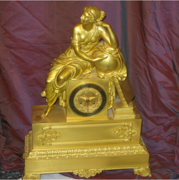 French Gilt Bronze Empire Mantel Clock