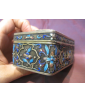 Chinese Silver Enamel Box with Jade