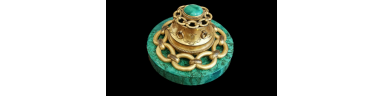 French bronze gilt inkwell